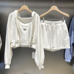 Abedinego - Set : Plain Hooded Jacket + Suspender Cropped Tank Top + Drawstring Shorts