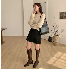 FROMBEGINNING(フロムビギニング) - Plain Pleated Miniskirt