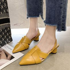 QQ Trend - Pointy-Toe Slingback Chunky-Heel Mules