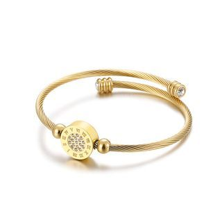BELEC - Fashion Creative Plated Gold Geometric Round Roman Numerals 316L Stainless Steel Bangle with Cubic Zirconia