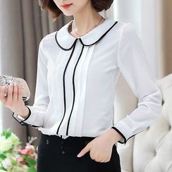 In the Mood - Piped Long-Sleeve Blouse