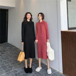 Yaonee - Collared Long-Sleeve Midi Knit Dress