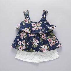 Mini Bae - Kids Set: Spaghetti-Strap Floral Print Top + Shorts + Sun Hat