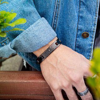 Tenri(テンリ) - Cross & Lettering Stainless Steel Bracelet
