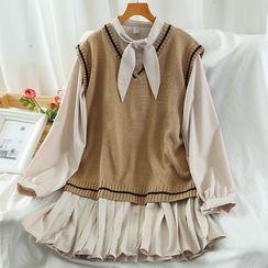 Miss Puff - Set: Long-Sleeve Pleated Mini A-Line Dress + V-Neck Knit Vest