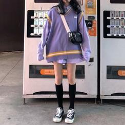 monroll - 长袖条纹衬衫 / 配色边针织马甲