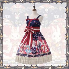 GOGO Girl - Cartoon Print Spaghetti Strap A-Line Dress / Rabbit Ear Headband / Bow Headband / Set