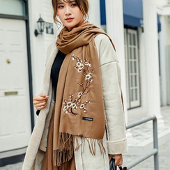 UACY - Floral Embroidered Fringed Scarf