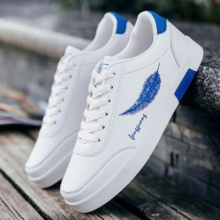 Viffara - Feather Faux Leather Sneakers
