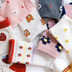 Cottonet - Set Of 3 Pairs: Printed Socks