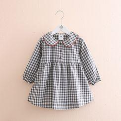 贝壳童装 - 小童长袖格子连衣裙