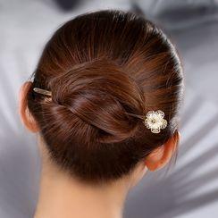 Gangnam - Rhinestone Floral Hair Stick