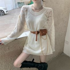 ANNZ - Pointelle Knit Mini Dress / Slipdress / Waist Bag