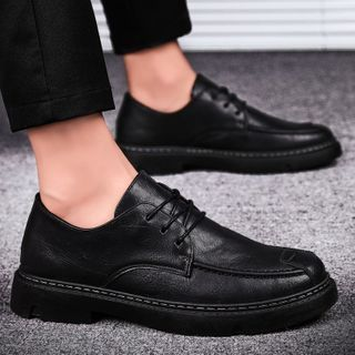 HANO(ハノ) - Lace-Up Faux Leather Shoes