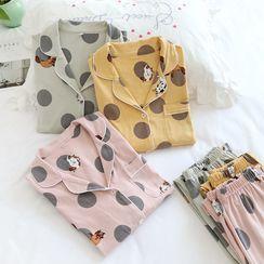 Dogini - Pajama Set: Cat Print Shirt + Lounge Pants