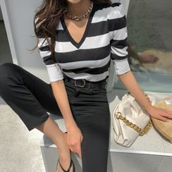 DABAGIRL - Puff-Shoulder Stripe Knit Top