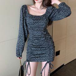 Pomona - Long-Sleeve Leopard Print Mini Sheath Dress