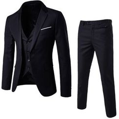 Constein - Set: Button Blazer + Vest + Slim-Fit Dress Pants