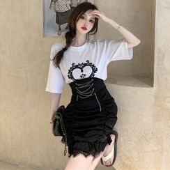 ever after - Printed Loose T-Shirt / Lace-Up High-Waist Bubble Mini Skirt
