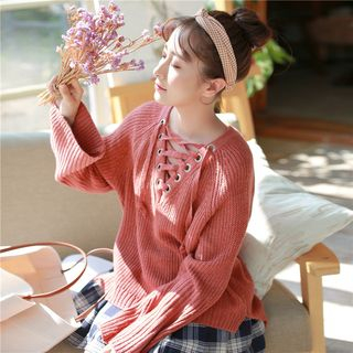 Sienne - Wide Long-Sleeve Lace-Up Rib Knit Sweater