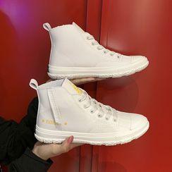 Shanhoo - 印字繫帶休閒鞋