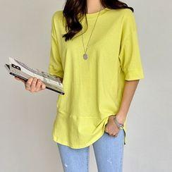 PIPPIN - Drop-Shoulder Round-Hem T-Shirt