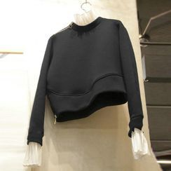 Kaypray(ケイプレイ) - Mock Two-Piece Cropped Pullover