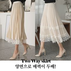 CLICK(クリック) - Reversible Lace-Trim Accordion-Pleat Skirt