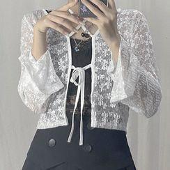 Sosana - Cross Strap Tie-Waist Lace Crop Cover-Up