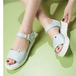 Freesia - 貓形狀厚底踝扣帶涼鞋