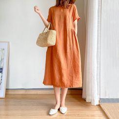 Carmenta - 短袖純色A字連衣中裙