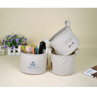 Hyole - Printed Linen Cotton Desk Organizer Basket
