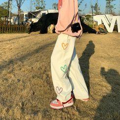 Lemman - 心型圖案工裝牛仔褲
