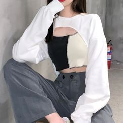 MIKIGA - Long-Sleeve Shrug / Two-Tone Overlock Stitched Crop Top