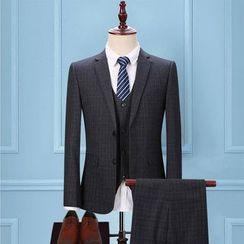 Tsuka - Set: Plaid Single-Breasted Blazer + Vest + Dress Pants