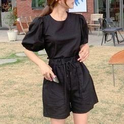 Cherryville - Set: Puff-Sleeve Cropped Top + Drawstring-Waist Shorts