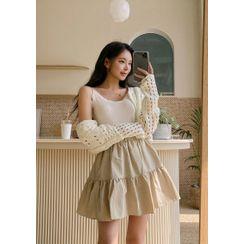 chuu - Inset Shorts Tiered Miniskirt