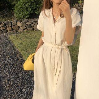 Czarine - Short-Sleeve Maxi Shirtdress with Sash