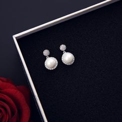 Infini - Faux Pearl Rhinestone Dangle Earring