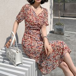 YUMU - Short-Sleeve Floral Print Midi Chiffon Dress