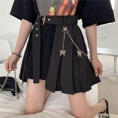 KARLY - Plain Shirt / Asymmetric High-Waist Pleated Skirt / Layered Butterfly Waist Chain