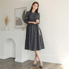 CHICLINE - Tie-Waist Laced Wrap Dress