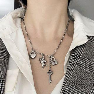 PANGU - Stainless Steel Angel Heart Pendant Necklace