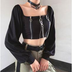 Trisica - 前拉链链条带气球袖短款上衣