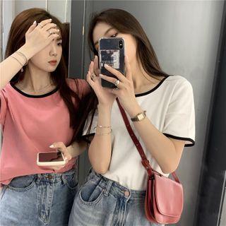 Auboi - 配色邊短袖T裇