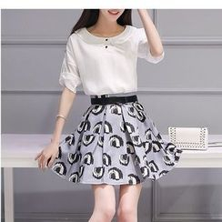 Fumoya - Set: Plain Tab-Sleeve Chiffon Blouse + Printed A-Line Skirt