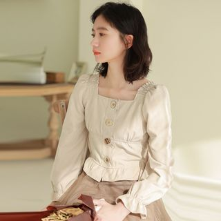 Lady Jean - Long-Sleeve Square-Neck Blouse