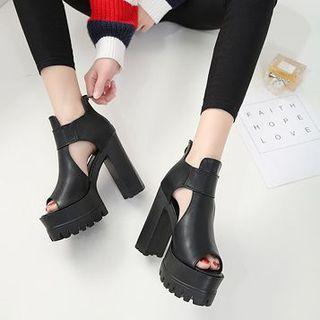 Anran - Chunky Heel Peep Toe Sandals