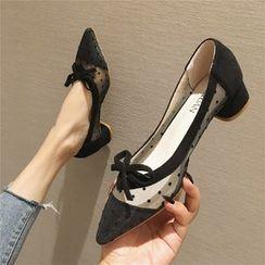 The Shoe House - Polka Dot Mesh Block Heel Pumps