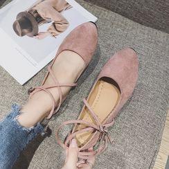 Henlotee - 踝帶尖頭平跟鞋